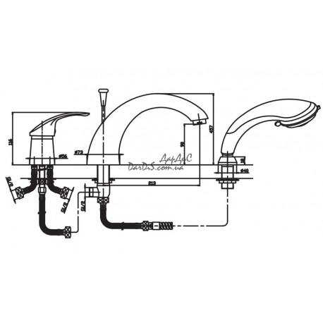 смеситель на борт ванны  haiba mars 022 размер