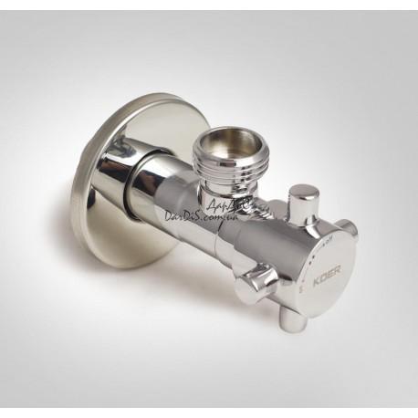 Кран приборный угловой KOER KR.517 1/2×3/4 хромированный KR0109