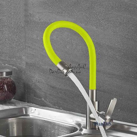 смеситель для кухни с гибким изливом из нержавейки ZERIX LR74004-4 жёлтый