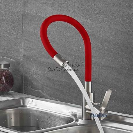 смеситель для кухни с гибким изливом из нержавейки ZERIX LR74004-1
