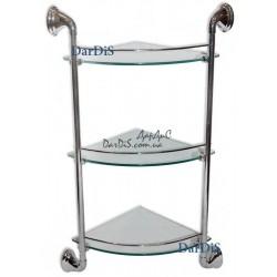 Полка угловая стекло 3-ярусная с ограничителем (250x250мм) ZERIX LR1507-3