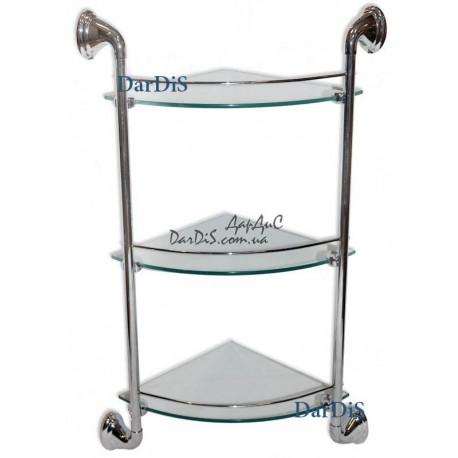 Полка угловая стекло 3-ярусная с ограничителем (250x250мм)