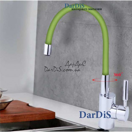 Смеситель кухонный с гибким изливом зелёный MIXXUS RAINBOW 027 GREEN