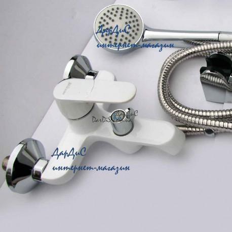Белый смеситель для ванной MIXXUS TIGER 009 EURO White