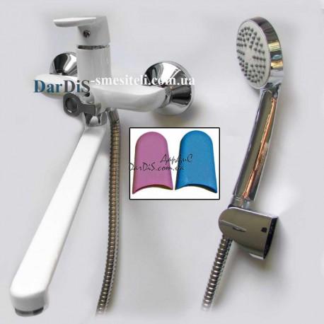 Белый смеситель для ванной с душем MIXXUS PREMIUM TIGER 006 EURO White
