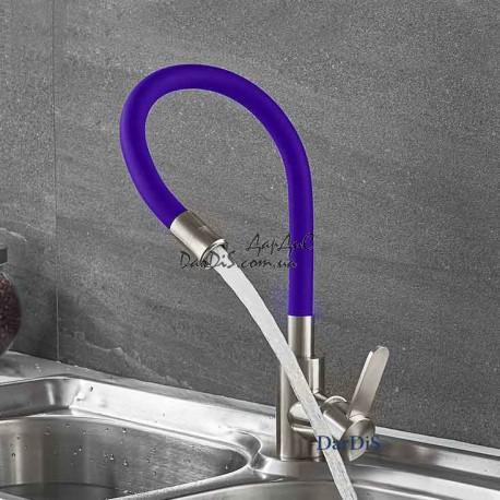 кухонный смеситель из нержавейки с гибким изливом ZERIX LR74004-8