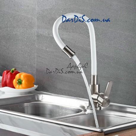смеситель для кухни с гибкий излив нержавейка ZERIX 74004-3 белый
