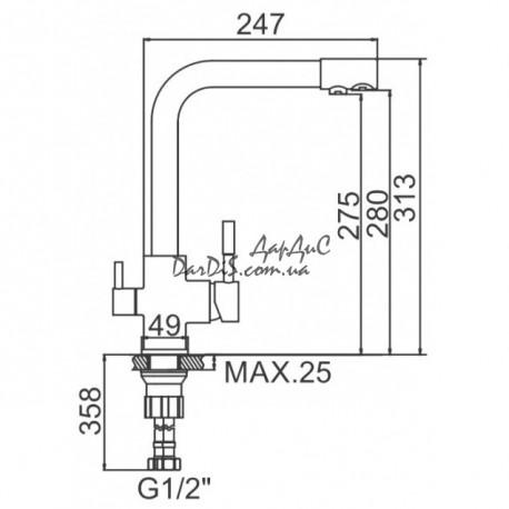 Смеситель для кухни с выходом для питьевой воды ZERIX LR4055B-3