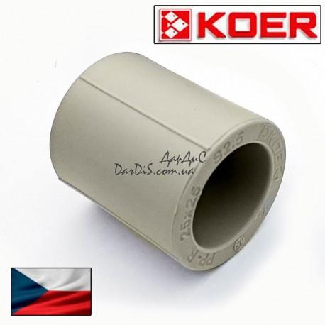 Муфта соединительная Pprc Koer 63 мм равнопроходная из полипропилена
