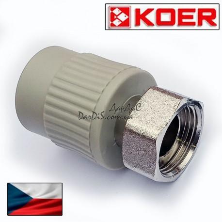 Полипропиленовая ппр муфта с накидной гайкой  Koer 32x1