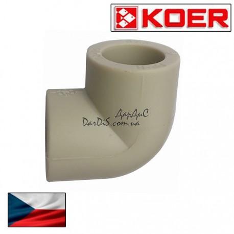 Угольник (угол, колено) соединительный Ppr Koer 63 мм 90 градусов
