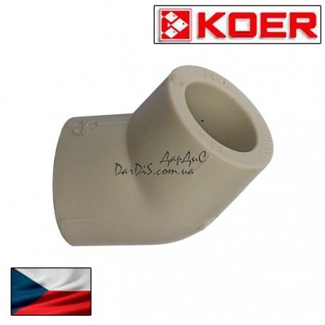 Угольник (угол) соединительный Ppr Koer 63 мм 45 градусов