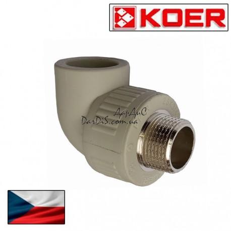 Угольник комбинированный ппр угол НР Koer 25*1/2M с наружной резьбой