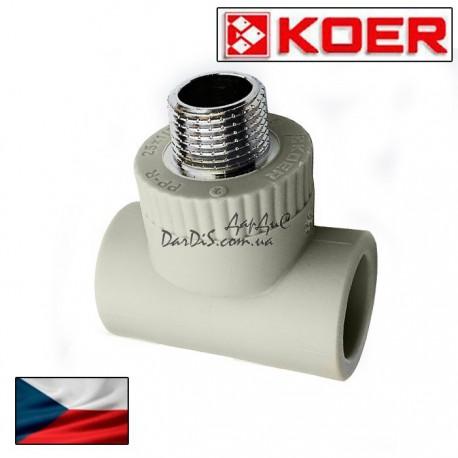 Koer PPR тройник комбинированный 20 мм 1/2 с наружной резьбой.