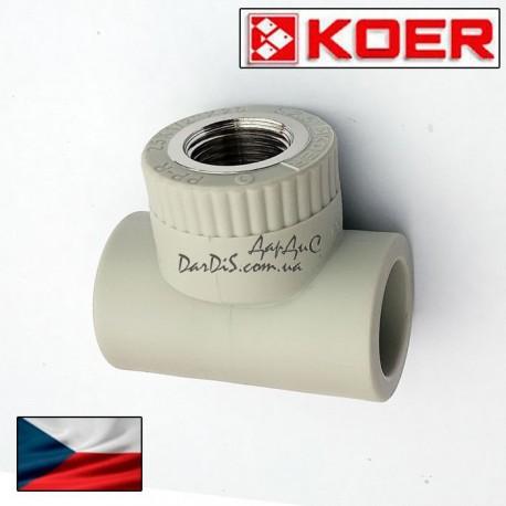 Koer PPR тройник комбинированный 25 мм 1/2 с внутренней резьбой.