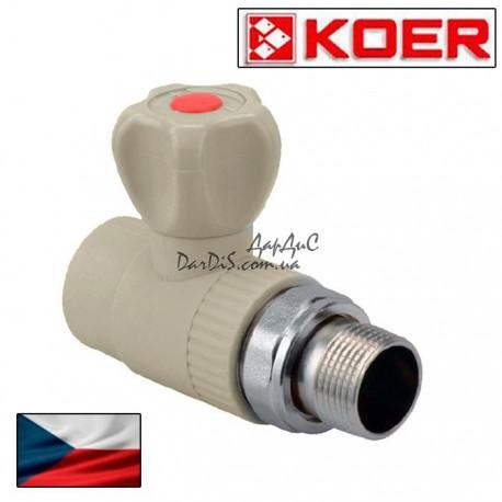 Полипропиленовый PPR кран радиаторный 25x3/4 прямой с американкой KOER