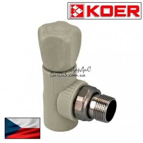 Ппр полипропиленовый вентиль радиаторный угловой 20x1/2 PPR KOER