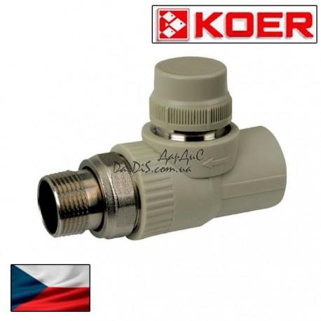 Термостатический ппр кран для радиатора прямой 25x3/4 KOER без термоголовы