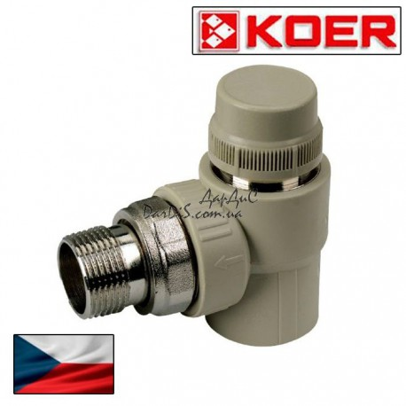 Ппр кран для радиатора термостатический угловой 20x1/2 PPR KOER