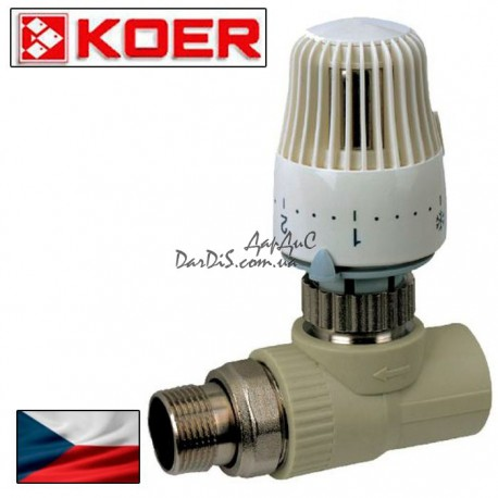 Ппр кран термостатический с термоголовкой прямой 25x3/4 PPR KOER
