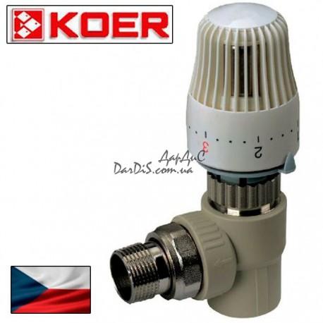 Ппр кран термостатический с термоголовкой угловой 25x3/4 PPR KOER