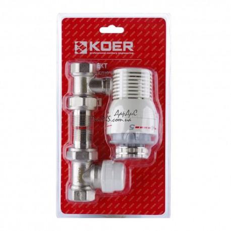 Комплект для подключения радиатора (прямой) с термоголовкой KOER KR.1321 1/2