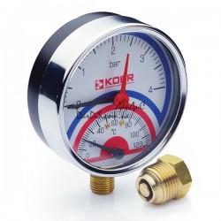Термо-Манометр радиальный KOER KM.821R D80мм (0-4 bar) 1/2''