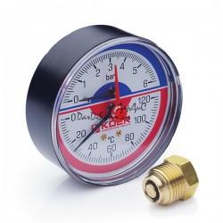 Термо-Манометр аксиальный KOER KM.802A D80мм (0-6 bar) 1/2''
