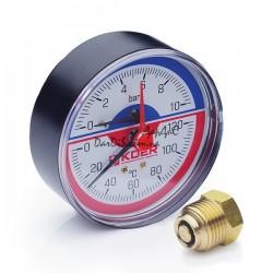 Термо-Манометр аксиальный KOER KM.802A D80мм (0-10 bar) 1/2''
