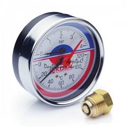 Термо-Манометр аксиальный KOER KM.812A D80мм (0-4 bar) 1/2''