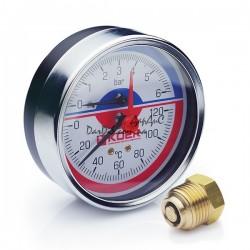 Термо-Манометр аксиальный KOER KM.812A D80мм (0-6 bar) 1/2''