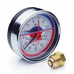 Термо-Манометр аксиальный KOER KM.812A D80мм (0-10 bar) 1/2''