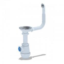 Сифон для кухни АНИ ПЛАСТ (A0142S) выпуск 115 мм с круглым переливом