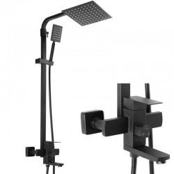 Черная душевая колонна для ванны с душем (sus304) MIXXUS KUB-009-J BCK