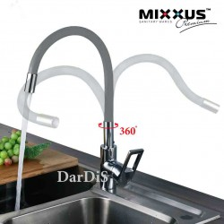 смеситель кухонный с гибким изливом серый MIXXUS RAINBOW 025 GRAY