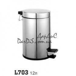 Металлическое мусорное ведро с педалью в туалет кухню 12л ZERIX LR703
