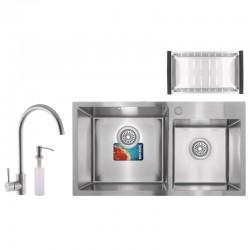 Набор MIXXUS SET-7843D-220x1.0-SATIN (мойка+смеситель+диспенсер+сушка для посуды)