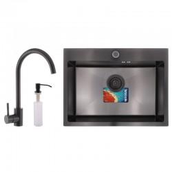 Набор MIXXUS SET-6045-200x1.0 PVD (мойка+смеситель+диспенсер)