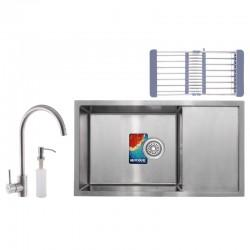 Мойка для кухни, смеситель, сушка, дозатор MIXXUS SET-6045-200x1.0-SATIN